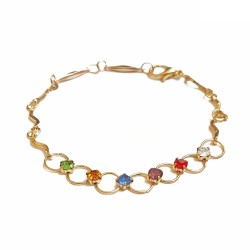 Bracelet chaîne, 7 anneaux...