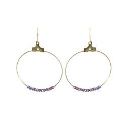 Créoles cristaux violet,...