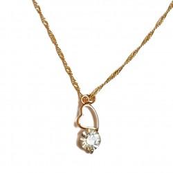 Pendentif doré cœur diamanté