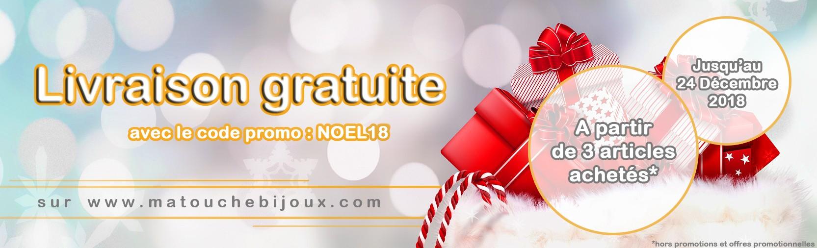 Profitez de la livraison gratuite pour vos cadeaux de noël jusqu'au 24 Décembre 2018 sur matouchebijoux.com !